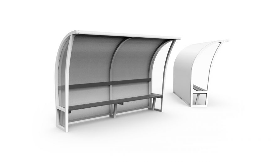 white arched one-piece team shelters Metalu Plast