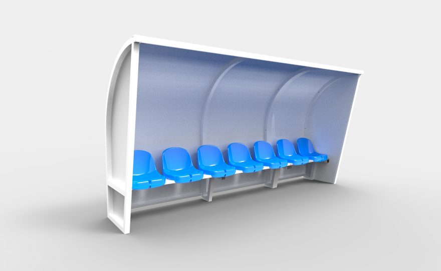 Metalu Plast white touch bench with blue plastic seats