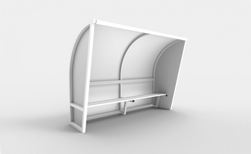 White aluminium one-piece team shelter with white sides
