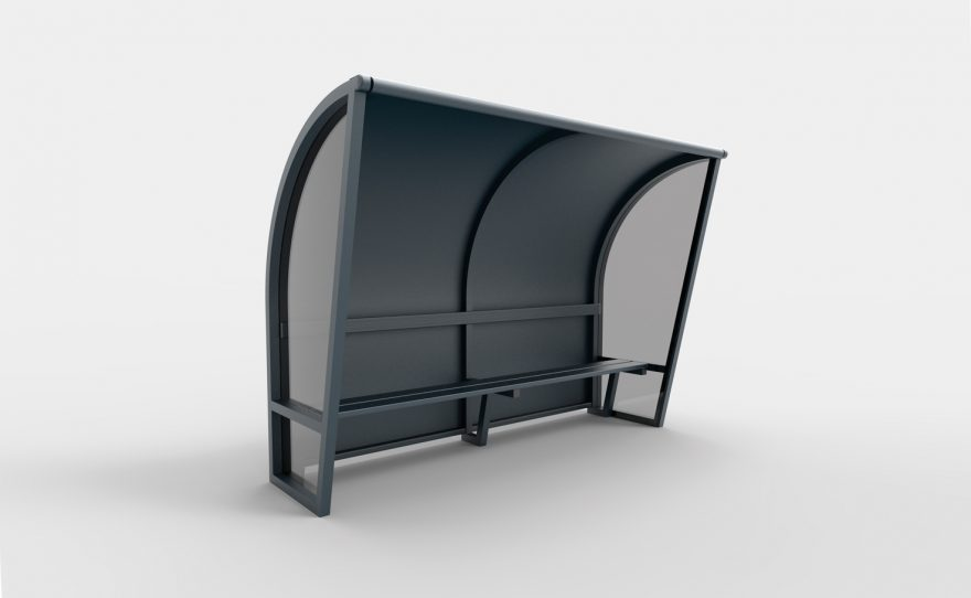 Black aluminium touch shelters and transparent sides