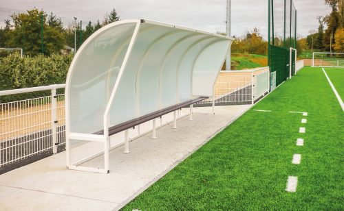 White aluminium team shelter 2 m height Metalu Plast sports equipment