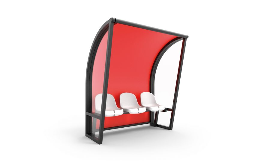 3 white seats for aluminium black touch shelter with red background