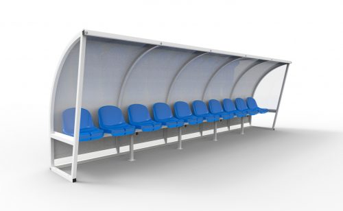 White team shelter with blue standard plastic seat Metalu Plast french manufacturer of sports equipment