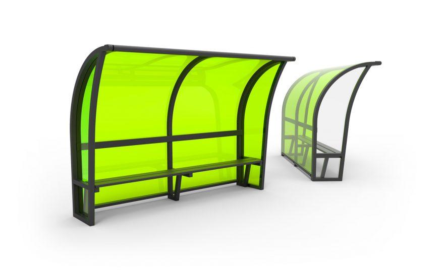 Black aluminium team shelter with green methacrylate background Metalu Plast