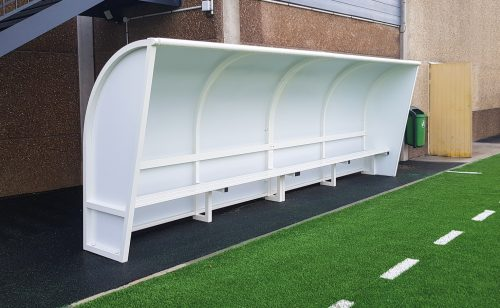 White plastic-coated curved touch bench with white seat Metalu
