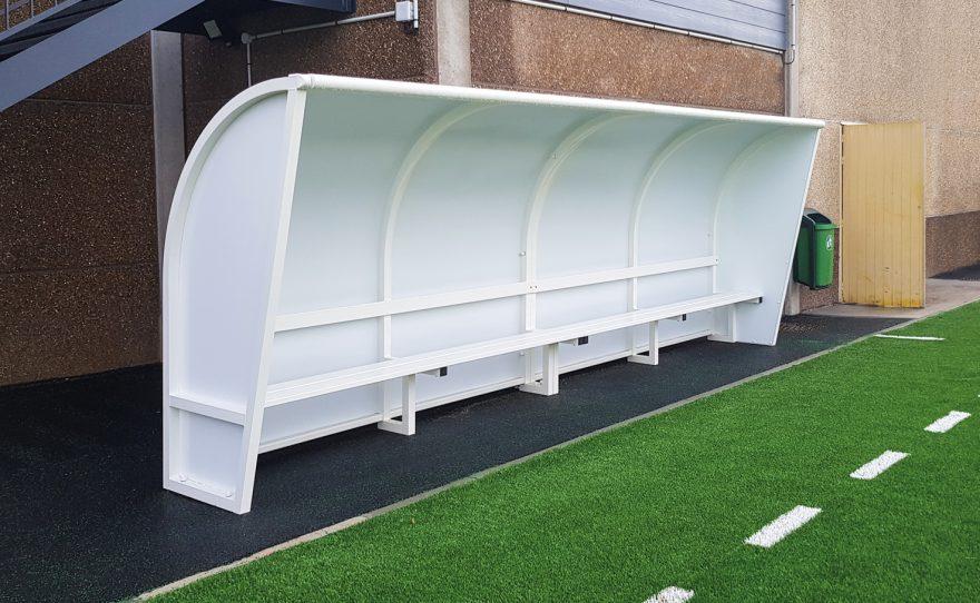 One piece team shelter in plastic coated aluminium structure