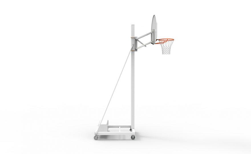 But de basketball mobile pour entraînement avec tête réglable à vis vu de profil