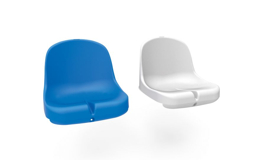 Blue and white plastic seat for team shelters Metalu Plast accessories for touch shelters