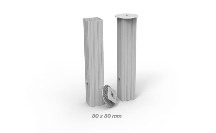 Fourreaux en aluminium carré de 80 x 80 Metalu Plast équipement sport