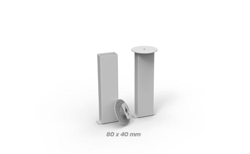 Fourreaux en aluminium rectangle 80 x 40 Metalu Plast équipement sportif