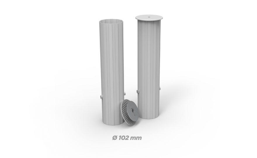 Fourreaux en aluminium rond de diamètre 102 Metalu Plast équipement sport