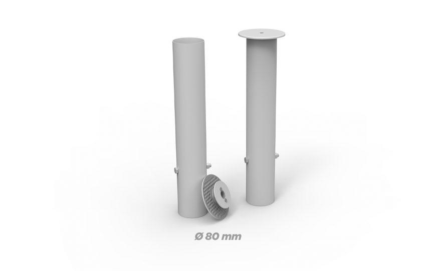 Fourreaux en aluminium rond de diamètre 80 Metalu Plast matériel sport