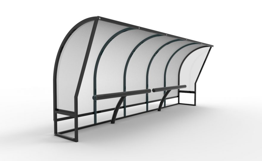 Team shelter spectator with sit stand bench