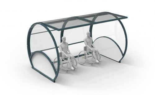 Shelter for wheelchair adapted for handisport made by Metalu Plast french manufacturer of sports equipment