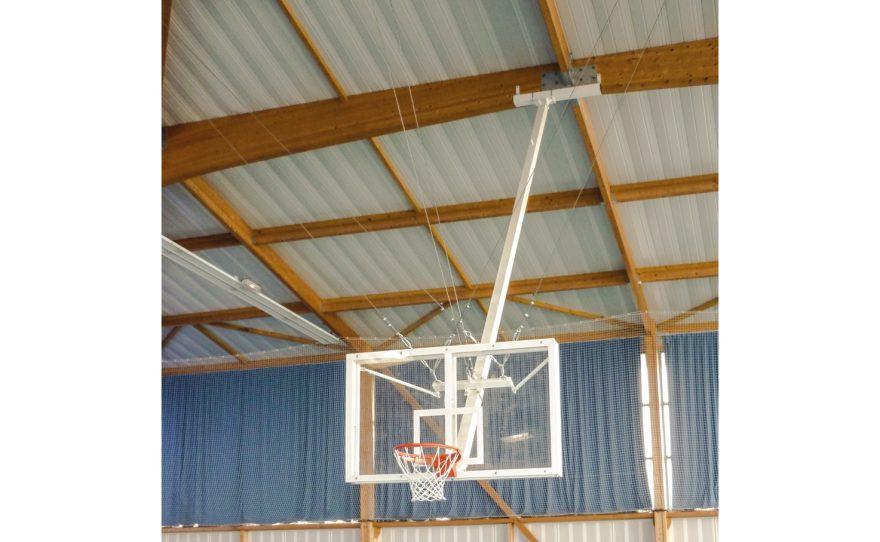 Roof mounted basketball goal with tempered glass backboard Metalu Plast