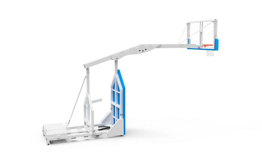 But de basketball intérieur mobile déplié utilisable pour la compétition Metalu Plast