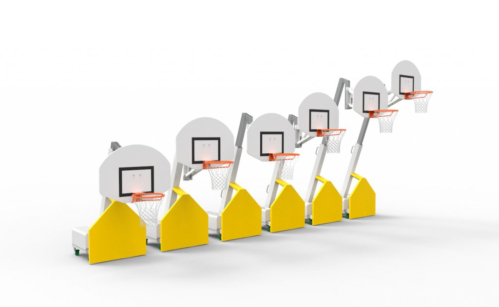 Basketball goal for training with 6 possible heights