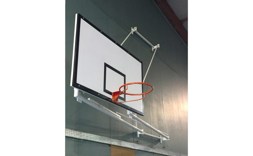 Wall-mounted competition basketball goal
