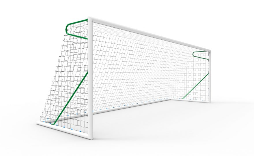 11-a-side transportable football goal in aluminium Metalu Plast manufacturer of sports equipment