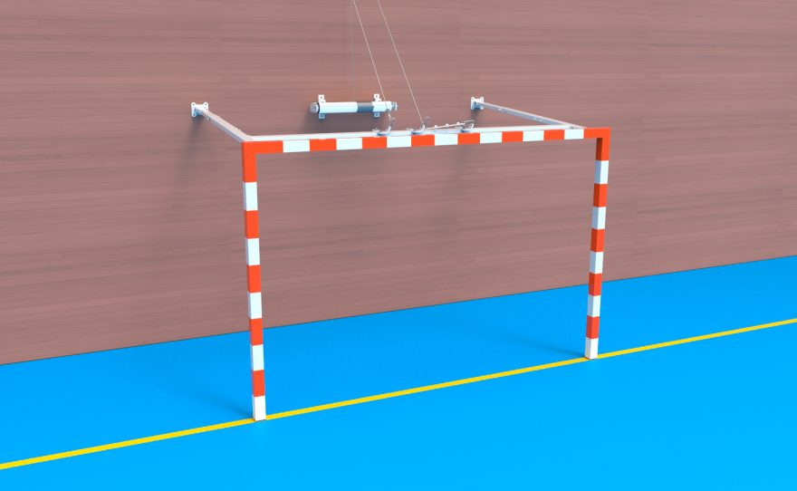 Handball goal with a winch to lift it Metalu plast