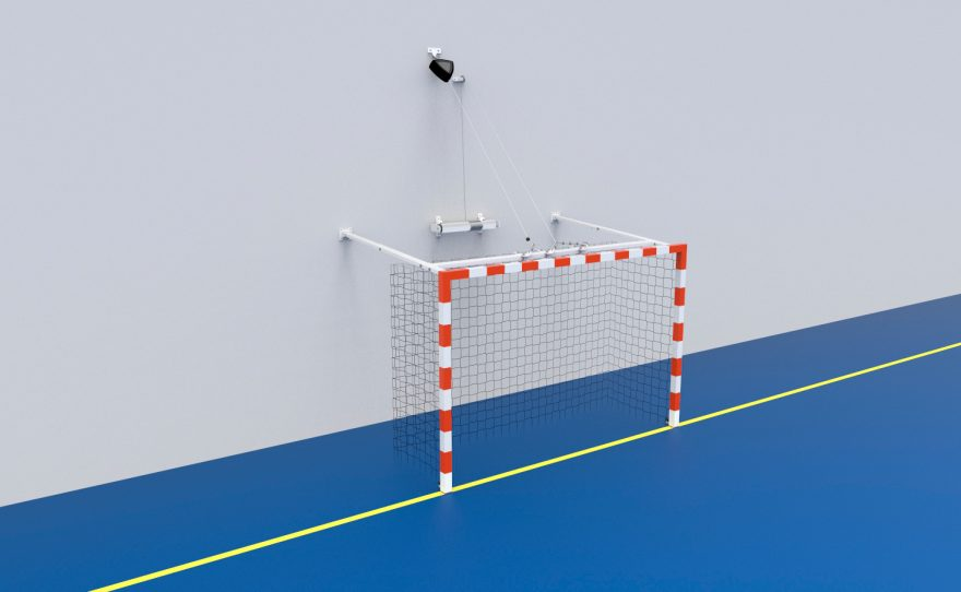 Raisable handball goal with a winch Metalu Plast sports equipment