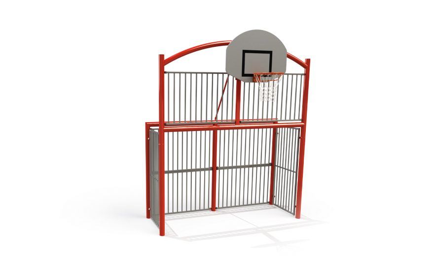 Multisport goal the classic bars with bar panels infill and basketball backboard Metalu Plast