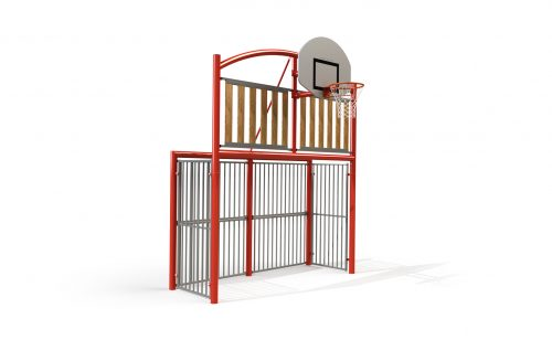 Multisport goal the classic wood with wood panels infill and basketball backboard Metalu Plast