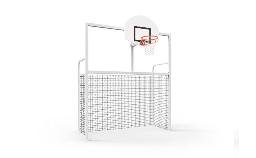 Fronton multisports combi Junior cage foot hand et panier de basket