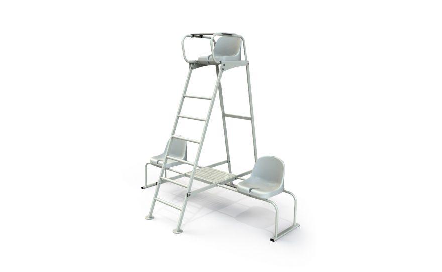 Chaise arbitre en acier avec chaises latérales