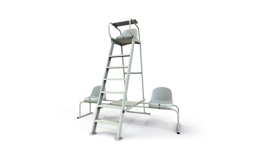 Chaise d'arbitre pour le tennis en aluminium et latérales