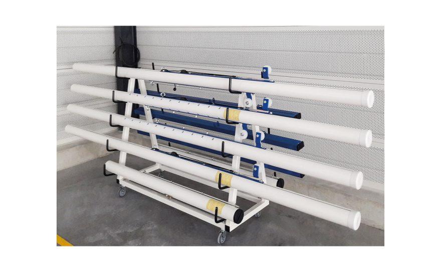 Transport trolley for Metalu Plast sports posts easy transportation