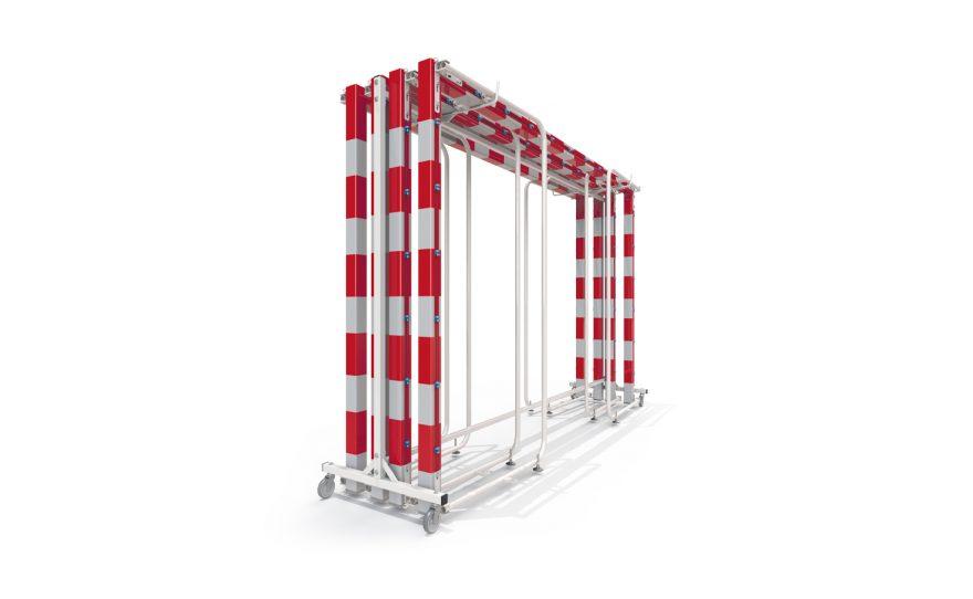 Transportation trolley for wall folding handball goals