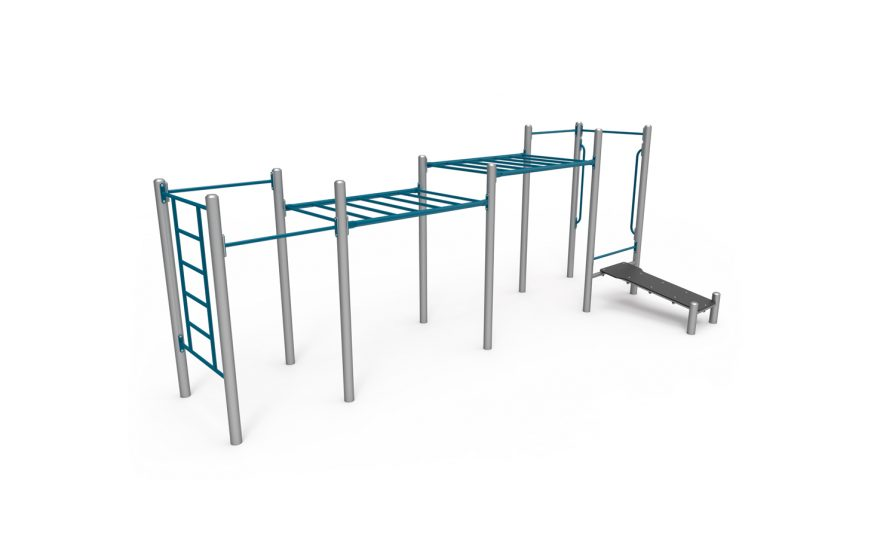 Street workout apparatus, The handset composed of 6 modules, in galvanized and plastic-coated steel, anti-slip and anti-corrosion texture
