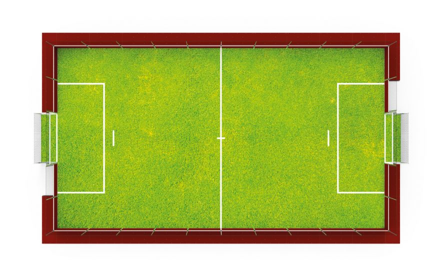 Dismountable soccer field top view Metalu Plast