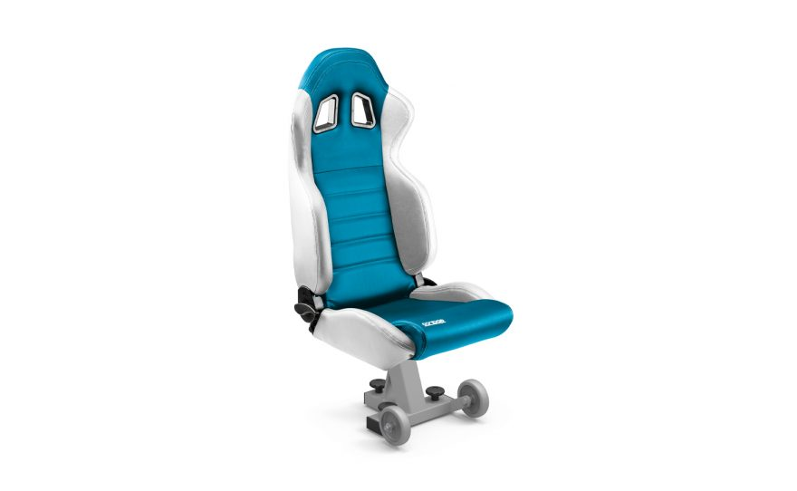 White and blue bucket seat for team shelters Metalu Plast VIP custom made many colors available