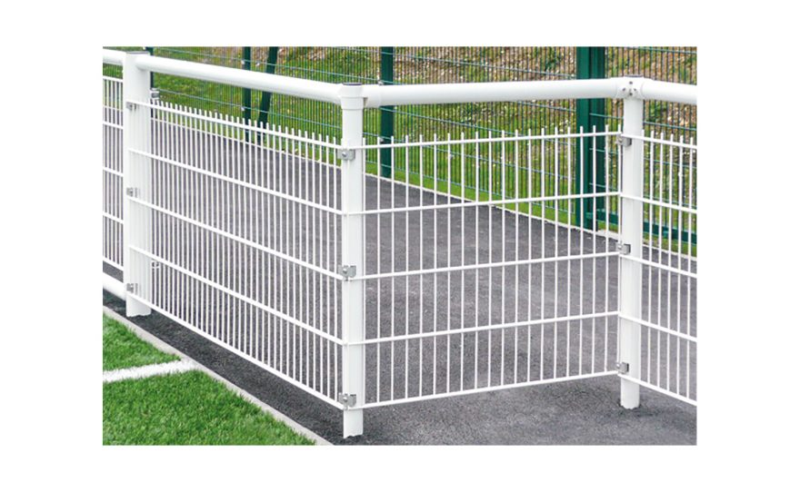 White handrail post for the corners with Metalu Plast noise protection system dB Stop Metalu Plast manufacturer sports equipment