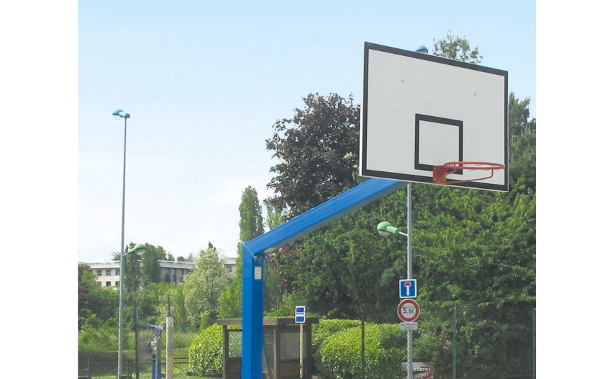 Metalu Plast basketball goal on base with a rectangular panel plastic-coated in blue