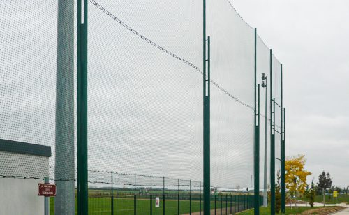 Bipod posts are used for high balloon fences
