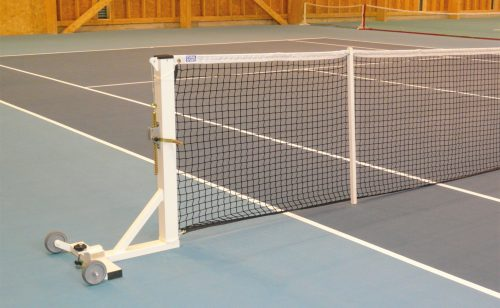 Square mobile tennis posts on base plate Metalu Plast