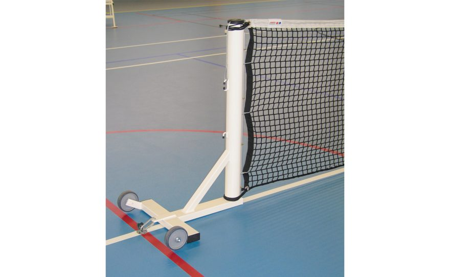 Mobile tennis posts on base plate made of white plastic-coated sendzimir steel tube by Metalu Plast