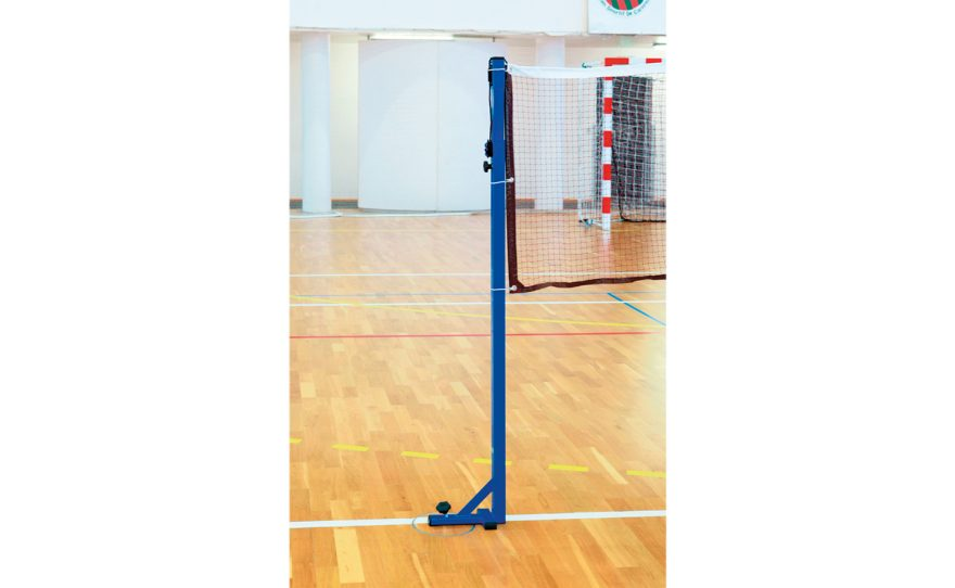 Blue badminton post for competition with a base and a net