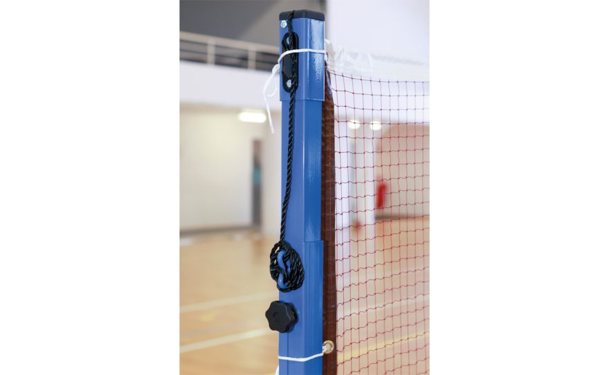 Badminton posts adapted for competition with adjustable height high position Metalu Plast