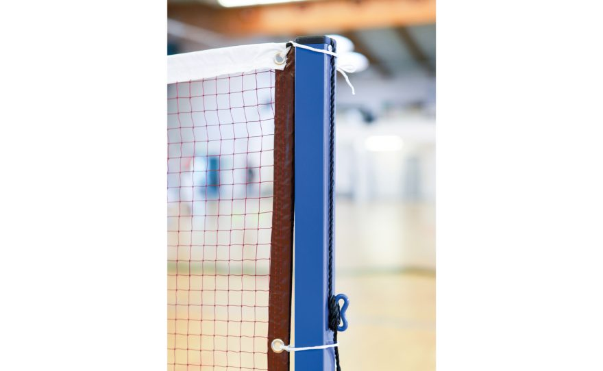 Badminton post with its net adapted to competition