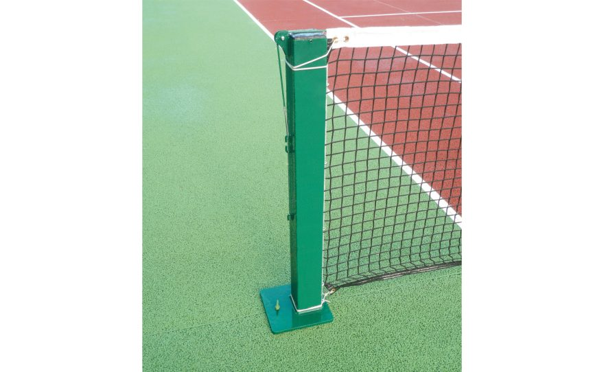 Square steel tennis posts on base plate Metalu Plast