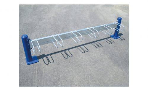 Galvanized steel bicycle rack on blue plate Metalu