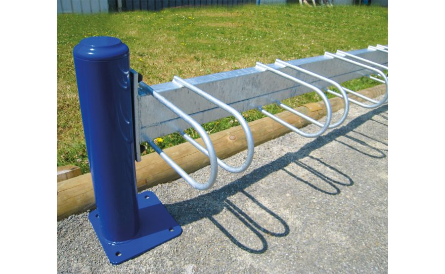 Galvanized steel bicycle rack on blue plate