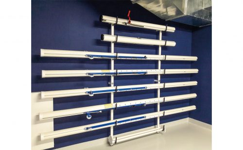 wall mounted storage rack tennis volley ball badminton Metalu Plast sports equipment