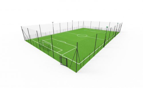 7-a-side football playground with ball-stop