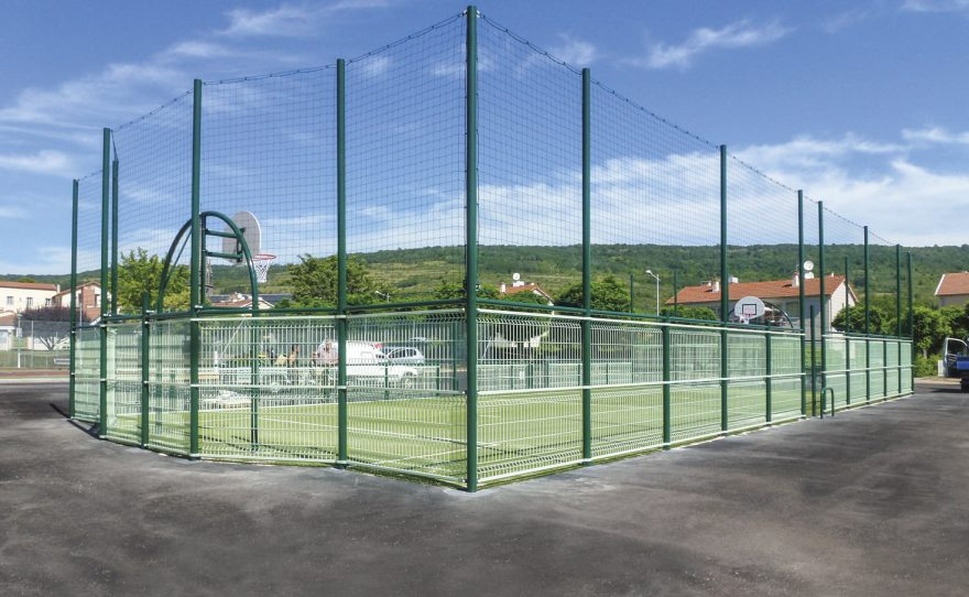 Multisports playground Metalu Plast with HDPE basket backboard ball-stop and handrail with lower part filling