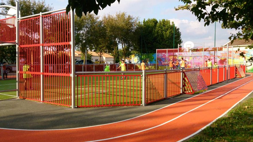 Red multisport playground athletism with mini brazilian goal Metalu Plast sports material